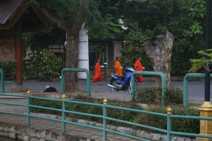 Monks heading out to seek daily alms.